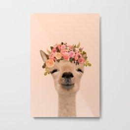 Alpaca with flower crown Print, Alpaca Wall Art, Modern Minimal, original art, art print Metal Print