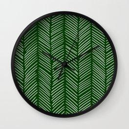 Forest Green Herringbone Wall Clock