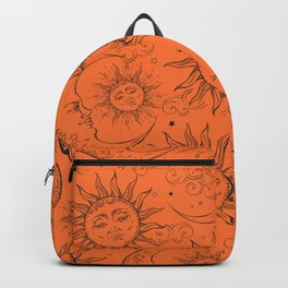 Orange Magic Celestial Sun Moon Stars Backpack