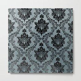 Teal black damask pattern, art nouveau pattern, victorian pattern, vintage pattern, elegant,chic,bea Metal Print