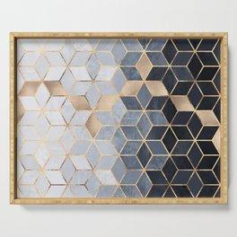 Soft Blue Gradient Cubes Serving Tray