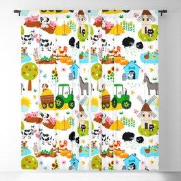 Cute Barnyard Farm Animals Pattern Blackout Curtain