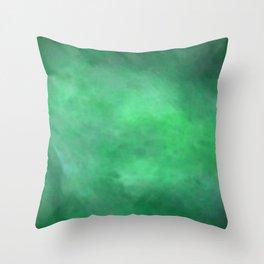 Abstract Watercolor Blend 2 Deep Dark Green and Light Green Throw Pillow
