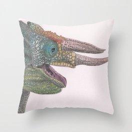 Happy Chameleon (watercolor) Throw Pillow