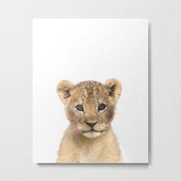 Baby Lion Animals Art by Zouzounio Art Metal Print