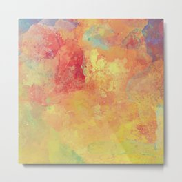 Colorful Watercolor Painting Abstract Metal Print