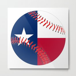 Texas Flag Baseball Metal Print