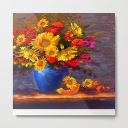Awesome Blue Vase Fruit & Sunflowers Still Life Metal Print