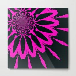 The Modern Flower Black & Fuchsia Metal Print