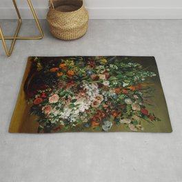 "Gustave Courbet ""Bouquet of Flowers in a Vase"" Rug"