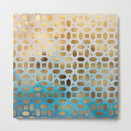 Exotic Gold Moroccan Geometric Pattern on Blue Background Metal Print