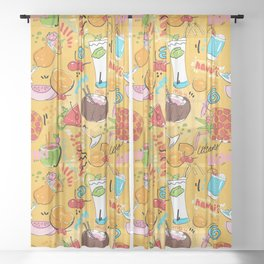 Tropical Libations Sheer Curtain
