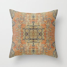 Vintage Woven Coral and Blue Kilim Throw Pillow