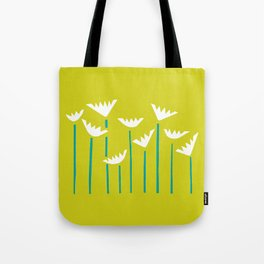 Chartreuse, Teal and White Tropical Plants Tote Bag