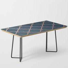 Satin Blue & Metallic Bronze Coffee Table