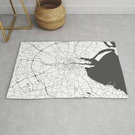 White on Grey Dublin Street Map Rug