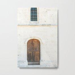 Wooden Door, Giverny Church Metal Print
