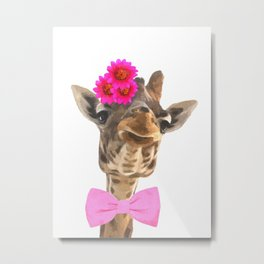 Giraffe funny animal illustration Metal Print
