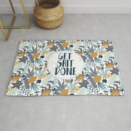 GET SH*T DONE, Floral I, Pattern Quote Rug