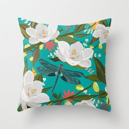 Magnolia tree, flowers and dragonfly green pattern Throw Pillow