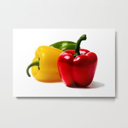 Three Bell Peppers Against The White Background. A Red Pepper To The Front Metal Print