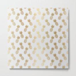 Gold Pineapple Pattern Metal Print