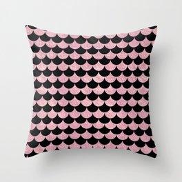 Mermaid Scales Pink Rose Gold Metallic Throw Pillow