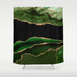 Emerald Marble Glamour Landscapes Shower Curtain
