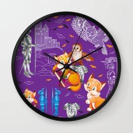 fox and owl  Pattern Wall Clock