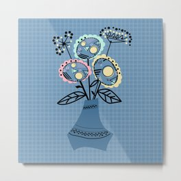 Quilling, flowers in vase Metal Print