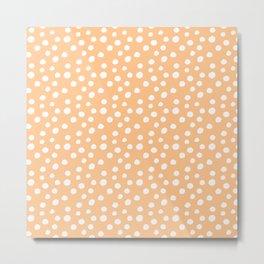 Soft Apricot & White Polka Dots  Metal Print