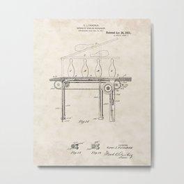 Automatic Bowling Machine Vintage Patent Hand Drawing Metal Print