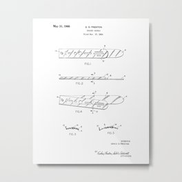 Eraser Shield Vintage Patent Hand Drawing Metal Print