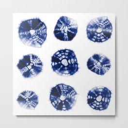 Shibori Kumo dots blue & white aligned Metal Print