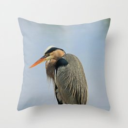 Heron in the Slough III Throw Pillow