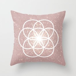 Rose Pink Seed of Life Boho Style Sacred Geometry Throw Pillow