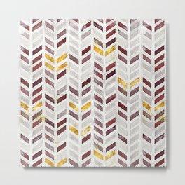 Modern Herringbone Chevron Pattern Painting Metal Print