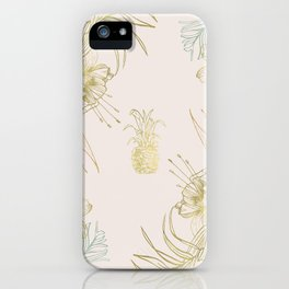 Gold Blush Tropical Floral Pineapple iPhone Case