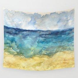 Lake Michigan Beach Watercolor Wall Tapestry
