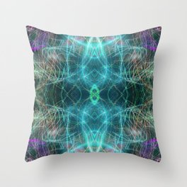 Abstract Light-trails Mandala 777 Throw Pillow