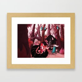 First Meeting in Forest Framed Art Print