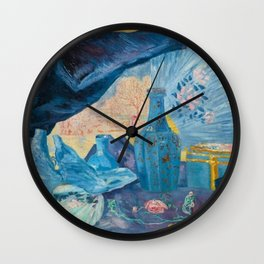 Harmonie en Bleu (Harmony in Blue) fans, china, flowers, shoes and shimmering clothes by James Ensor Wall Clock