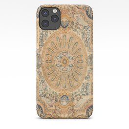 Louvre Fame Carpet // 16th Century Sunflower Yellow Blue Gold Colorful Ornate Accent Rug Pattern iPhone Case