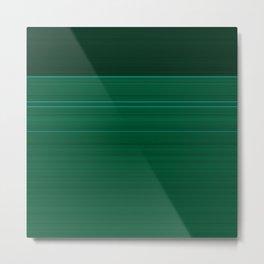 Dark Emerald Green with Light Blue Stripes Metal Print