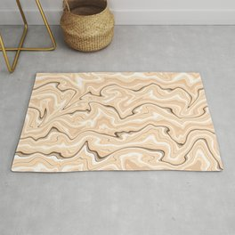 Cappuccino marble stone pattern, abstract soft coffee shades illustration Rug