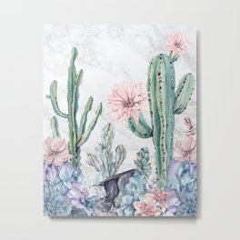 Desert Cactus Succulents + Gemstones on Marble Metal Print