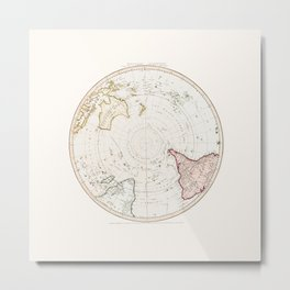 Southern Hemisphere - reproduction of William Faden's 1790 engraving Metal Print