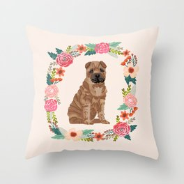sharpei dog breed floral wreath pet portrait dog gifts Throw Pillow