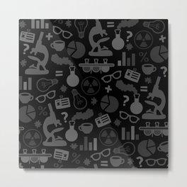 Grey and Black Science Pattern Metal Print