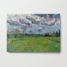 Meadow With Flowers Under a Stormy Sky Metal Print